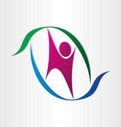 man icon celebrating letter n symbol vector image