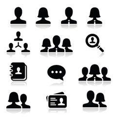 Man woman user icons set vector