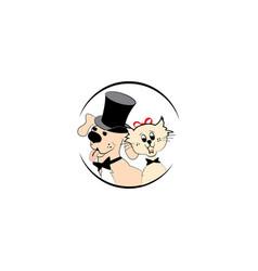 modern pet dog and cat logo vector image