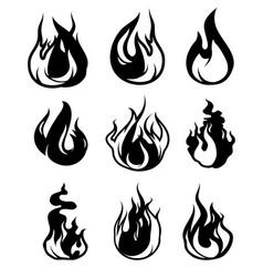 monochrome symbols flame black icons vector image