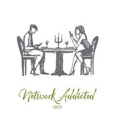 network addicted concept hand drawn isolated vector image