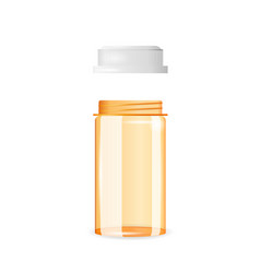 open and empty pill bottle isolated on the white vector image