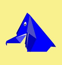 origami blue paper elephant vector image