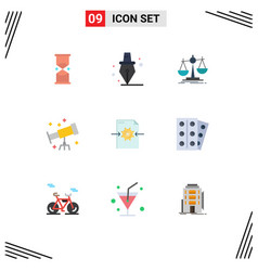 Pack 9 modern flat colors signs and symbols vector