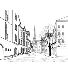 Paris street cityscape - houses buildings and vector