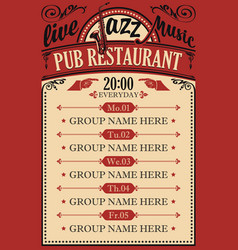 poster for a pub restaurant with live jazz music vector image