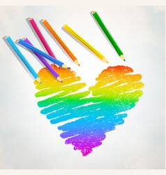 Rainbow colored heart with color pencils vector