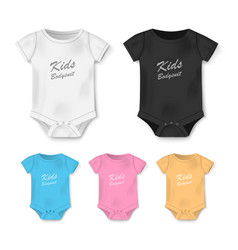 Realistic blank baby bodysuit template isolated vector
