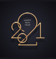 realistic gold metal logo 2021 new year vector image