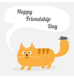 Red cat and mouse Happy friendship day vector image