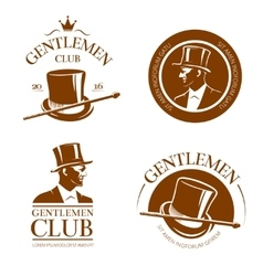 Retro gentlemen club emblems labels badges vector