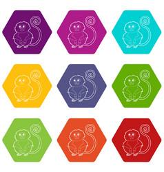 rhinopithecus icons set 9 vector image