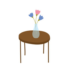 Round table with vase and flowers decoration vector