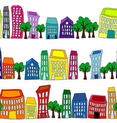 Seamless colorful cityscape borders vector image