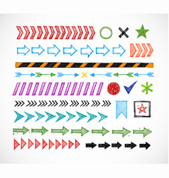 set colored doodle arrow dividers pointers vector image