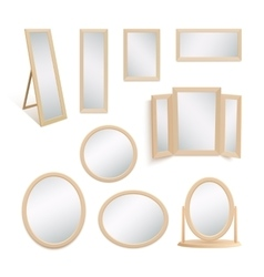 set mirrors isolated on white background vector image