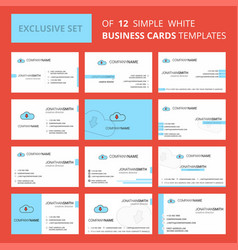 set of 12 downloading creative busienss card vector image