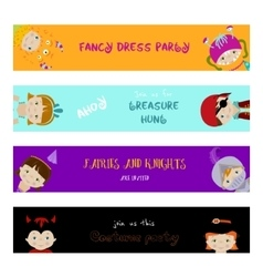 Set of banners with kids in fancy dresses vector