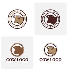 Set of cow logo design concepts cow farm logo vector
