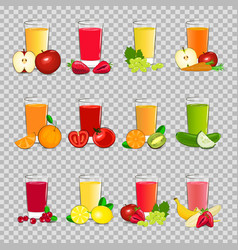 Set of fresh fruit and vegetable juice vector