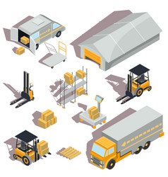 Set of logistic and delivery isometric vector