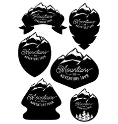 set retro badge templates with mountains vector image vector image