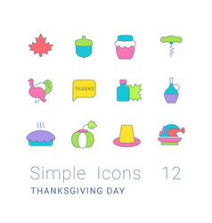 set simple line icons thanksgiving day vector image