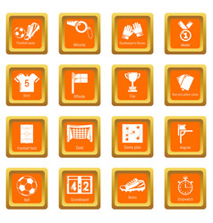 soccer football icons set orange square vector image