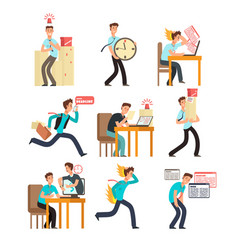 stressed office people for deadline and time vector image