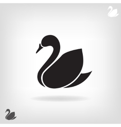 stylized silhouette swan on a light background vector image