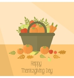 Thanksgiving day basket with pumpkins vector image