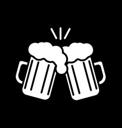Toast with beer mugs dark mode glyph icon vector