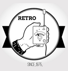 Vintage logo with walkie-talkie vector