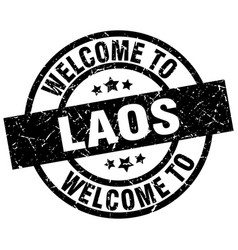 Welcome to laos black stamp vector