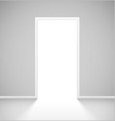 white realistic open door with light vector image