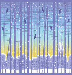 Winter seamless pattern with trees and cityscape vector