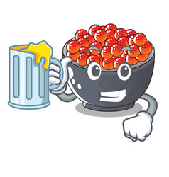 With juice salmon roe character ready to eat vector