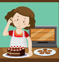 Woman baking cake and cookies vector