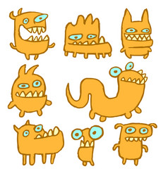 Yellow monsters emoticons set vector