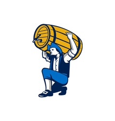 American Patriot Lifting Beer Keg Isolated Retro vector image vector image
