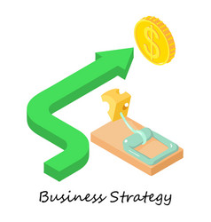 business strategy icon isometric 3d style vector image