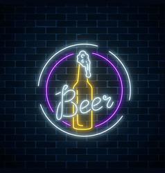 Glowing neon beer bar signboard in round frames vector