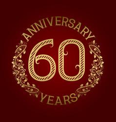 golden emblem of sixtieth anniversary vector image vector image
