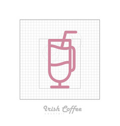 icon of cocktail with modular grid irish coffee vector image vector image