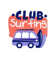 Surfing club logo surf retro badge vector