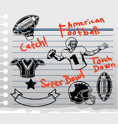 american football theme doddle on paper vector image