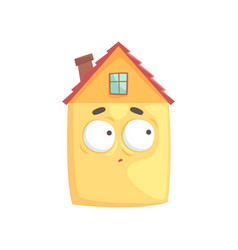 cute house cartoon character with confused vector image vector image