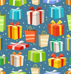 Different color gift boxes seamless pattern design vector image vector image
