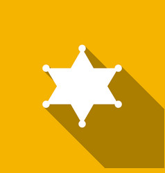 hexagram sheriff star badge flat icon with long vector image