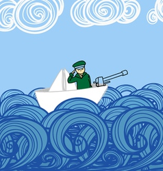 Paper ship with soldier floating on waves vector image
